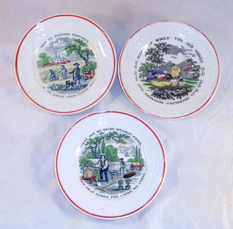 Lot of Three 1860's Staffordshire Colorful Proverb Dishes One By J&G Meakin