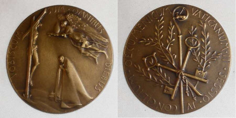 Beautiful 1965 Italian Papal State Uncirculated Commemorative Bronze Medal Fourth & Final Session of the Ecumenical Council Pope Paul VI