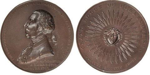1902 Bronze Medal Sesquicentennial of George Washington's Initiation As a Freemason Grand Lodge Of Pennsylvania