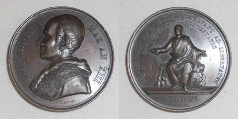 1890 Bronze Medal By Bianchi Vatican/Papal State Leo XII AN XIII Showing Saint Peter Chained to Rock