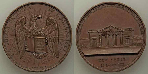 1803 Copper Commemorative Medal First Council Canton of Vaud Switzerland By Bertrand Andrieu Eagle and Large Building Beautiful Extremely Fine