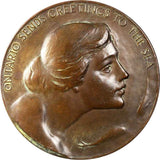 Undated 1935 Large Bronze Medal The Society Of Medalists 11th Issue By Lorado Taft Homage to the Great Lakes Beautiful About Uncirculated