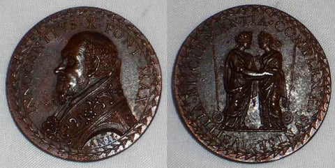 Vatican Bronze Medal Pope Innocent X Bust Left Anno II Justice & Mercy Embracing