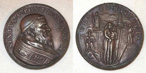 Vatican Bronze Medal Pope Sixtus V Anno III Virgin & Child Early Restrike AU+