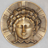 1907 Large Bronze Medal Art Deco Design Diffusion of Electricity P-M. Dammann