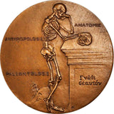 1961 H Vallois France Portrait Bronze Medal Skeleton Standing Thinking By Coefin