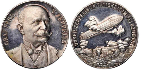 1914 Portrait Silver Medal Ferdinand Graf von Zeppelin Airship Bombing in WWI
