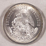 Mexican Crown Size Silver Coin 1948 Five Pesos Head of Aztec Leader Cuauhtemoc Mint Mark Mo Gem Brilliant Uncirculated For Your Collection of World Coins