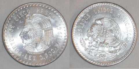 Mexican Crown Size Silver Coin 1947 Five Pesos Head of Aztec Leader Cuauhtemoc Mint Mark Mo Gem Brilliant Uncirculated