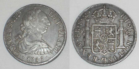 1786FM Crown Size Silver Coin Mexico 8 Reales Mint Mark Mo Charles III of Spain Toned Very Fine Coin