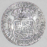 1736MF Crown Size Silver Coin Mexico 8 Reales Mint Mark Mo Philip V of Spain Toned Very Fine or Better