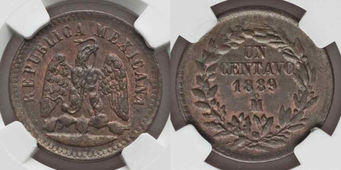 Toned 1889 Mexico Large Copper Un Centavo Mo Mint Mark Eagle and Serpent MS63 BN