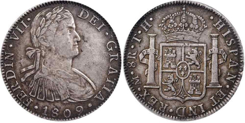 1809 Ferdinand VII Spain Silver Coin Mexico 8 Reales Mint Mark Mo Assayer TH