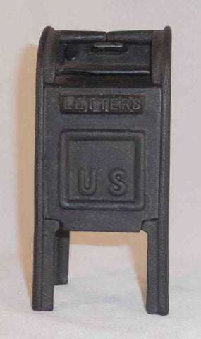 Nice Vintage Cast Iron Still Bank Large Standing Mailbox Marked JM99 IRON ART
