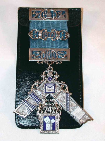 1973 Past Master Masonic Medal Ribbon Enamel & Sterling Silver Boyertown PA Lodge No. 741 F&AM In Leather Holder William Lehmberg & Sons Philadelphia