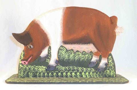 1990 Lancaster County Carved Wood Polychrome Painted Folk Art Pig Sow by Menno