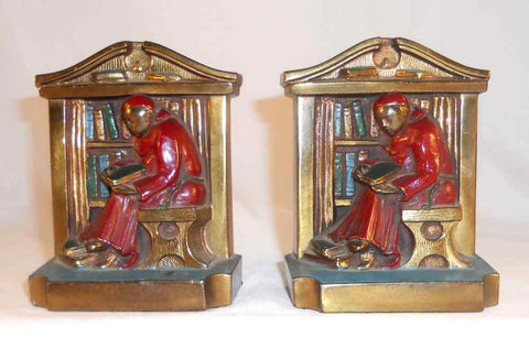 Colored Brass Ronson Bookends Monk in Red Robe Reading Marked L.V.A. (c) 1922