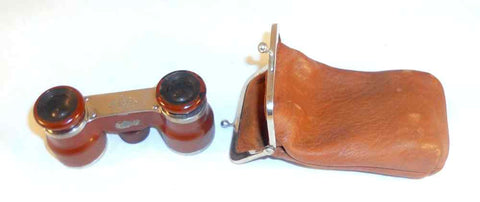 Antique G. Rodenstock Munchen Germany Opera Glasses or Binoculars Leather Case