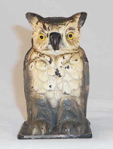 Antique Cast Iron Still Penny Bank Owl Standing Vindex Toys Belvidere IL