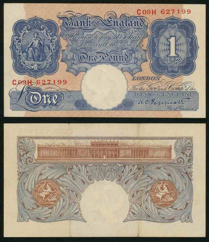 1948-1949 Great Britain One Pound Seated Britannia Signed Peppiatt Banknote
