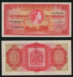 1966 Bermuda 10 Shillings Pick Number 19b Young Queen Elizabeth II Beautiful Choice Very Fine or Better Banknote
