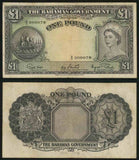 The Bahamas Government One Pound Banknote Pick Number 15d Good Very Fine or Better Currency Note