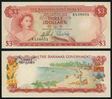 1965 Bahamas 3 Dollar Uncirculated Banknote Queen Elizabeth II Signed Sands & Higgs