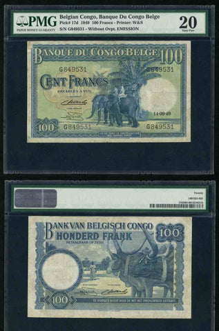 Bank of Belgian Congo 1949 One Hundred Francs Banknote PMG Very Fine 20