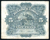 Bank of Belgian Congo 1947 Five Francs Banknote Pick Number 13Ad Very Fine Currency Note