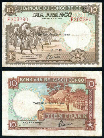 Bank of Belgian Congo 1942 Ten Francs Banknote Pick 14B Nice Very Fine Note