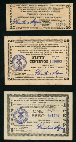 Lot of Seven Philippines Treasury Emergency Currency Certificate Issue Very Fine to Extremely Fine or Better Banknotes