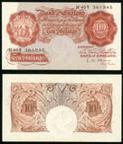 1955-1960 Great Britain Brown Colored Ten Shillings Seated Britannia and Signed O'Brien Prefix H45Y