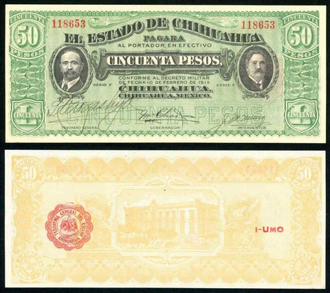 Mexico 1914 Currency Series F State Chihuahua Nice 50 Pesos Banknote P#S538c CU