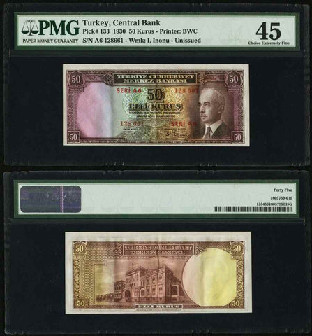 Turkey Central Bank 1930 Fifty Kurus Unissued Banknote PMG Choice Extremely Fine 45