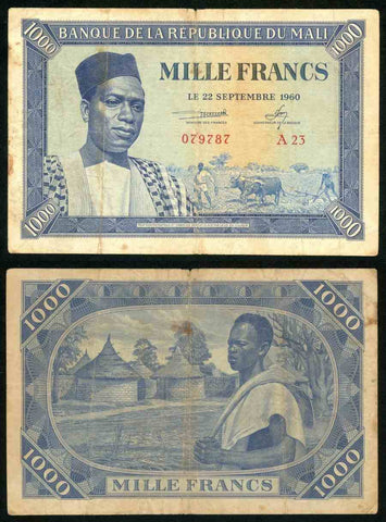 1960 Mali 1000 Francs Banknote Bank of the Republic of Mali Pick Number 4 Nice Very Good or Much Better