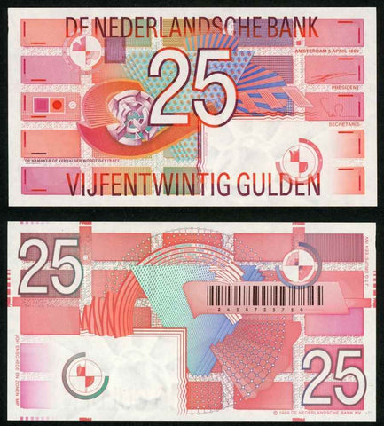 1989 Netherland 25 Gulden Banknote Pick Number 100 Beautiful Geometric Design Crisp Uncirculated Currency Note