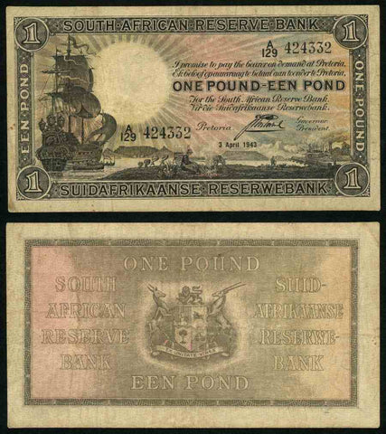 1943 South African Reserve Bank One Pound Banknote Pick Number 84e Nice Fine or Much Better Currency Note