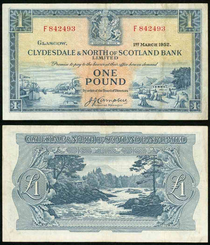 1952 One Pound Sterling Banknote Clydesdale & North of Scotland Bank Pick Number 191 Beautiful Choice Very Fine Currency Note