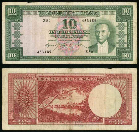 L1930 Turkey Central bank Series Z50 Ten Liras Kamal Ataturk Pick Number 160 Nice Fine or Much Better Banknote