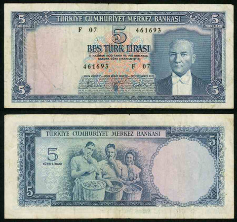 1930L Turkey Central bank Series F07 Five Liras Kamal Ataturk Pick Number 1173 Nice Fine or Much Better Banknote