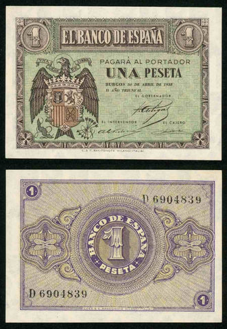 1938 Spain One Peseta Pick Number 108a Spain Arms Beautiful Crisp Uncirculated Banknote