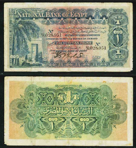 1916 Egypt One Pound Banknote National Bank of Egypt Pick 12a Frederick Rowlatt Signature PMG 25 Very Fine