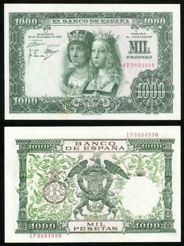 1957 Bank of Spain 1000 Pesetas Banknote Catholic Royals Pick #149a Crisp XF++
