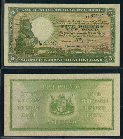 1940 South African Reserve Bank Five Pounds Banknote Pick Number 86b WBG 35 Very Fine Choice