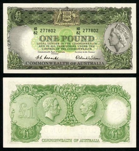Scarce 1953-60 ND Australia One Pound Banknote P# 30a Queen Elizabeth XF++