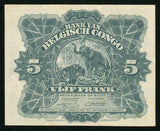 1949 Bank of Belgian Congo Five Francs Banknote Pick# 13B Currency Note XF+