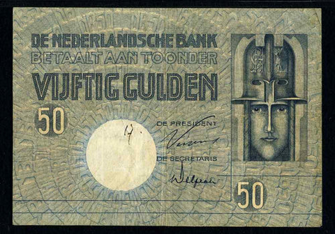 Netherlands Bank Banknote 29 April 1929 Issue Fifty Gulden P#47 PMG 25 Very Fine