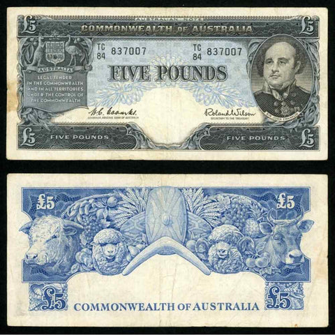 Commonwealth Australia 5 Pounds Banknote Pick Number 35a Navigator J Franklin VF