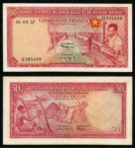 1957 Belgian Congo Ruanda-Urundi Central Bank 50 Francs Banknote P# 32 Choice VF