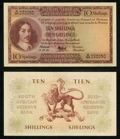 1953 South African Reserve Bank Ten Shillings Banknote Pick Number 90c Nice Extremely Fine or Better Currency Note
